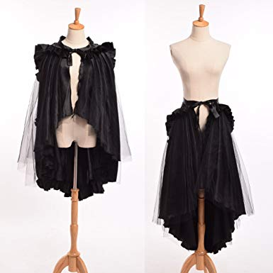 bustle skirts blessume punk flounce bustle skirt cape, black, one size PHYZYBA