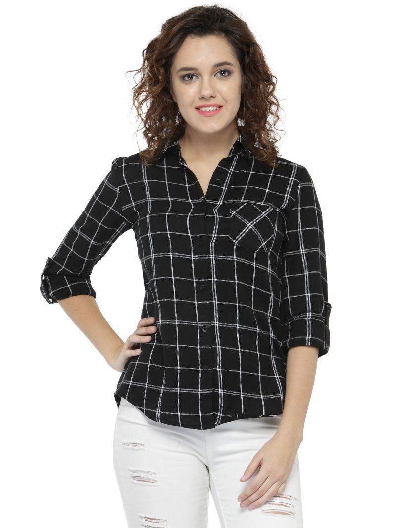 buy hive91 black check shirts for women, cotton casual shirt online QDPPAIL