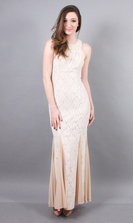 cachet dress cachet - 56727h embellished halter neck stretch lace dress in white and  neutral LCJZICW