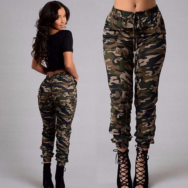 camo pants for women camouflage pants women long trousers print elastic waist casual trouser  female green SQQEFWK