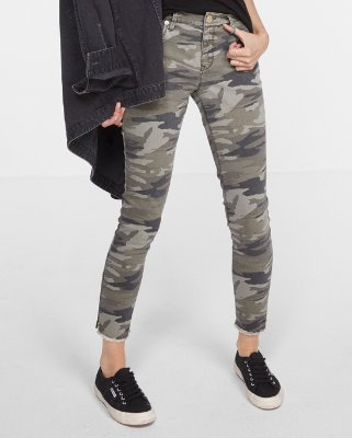 camo pants for women mid rise camo print stretch ankle leggings | express FKFGTHX