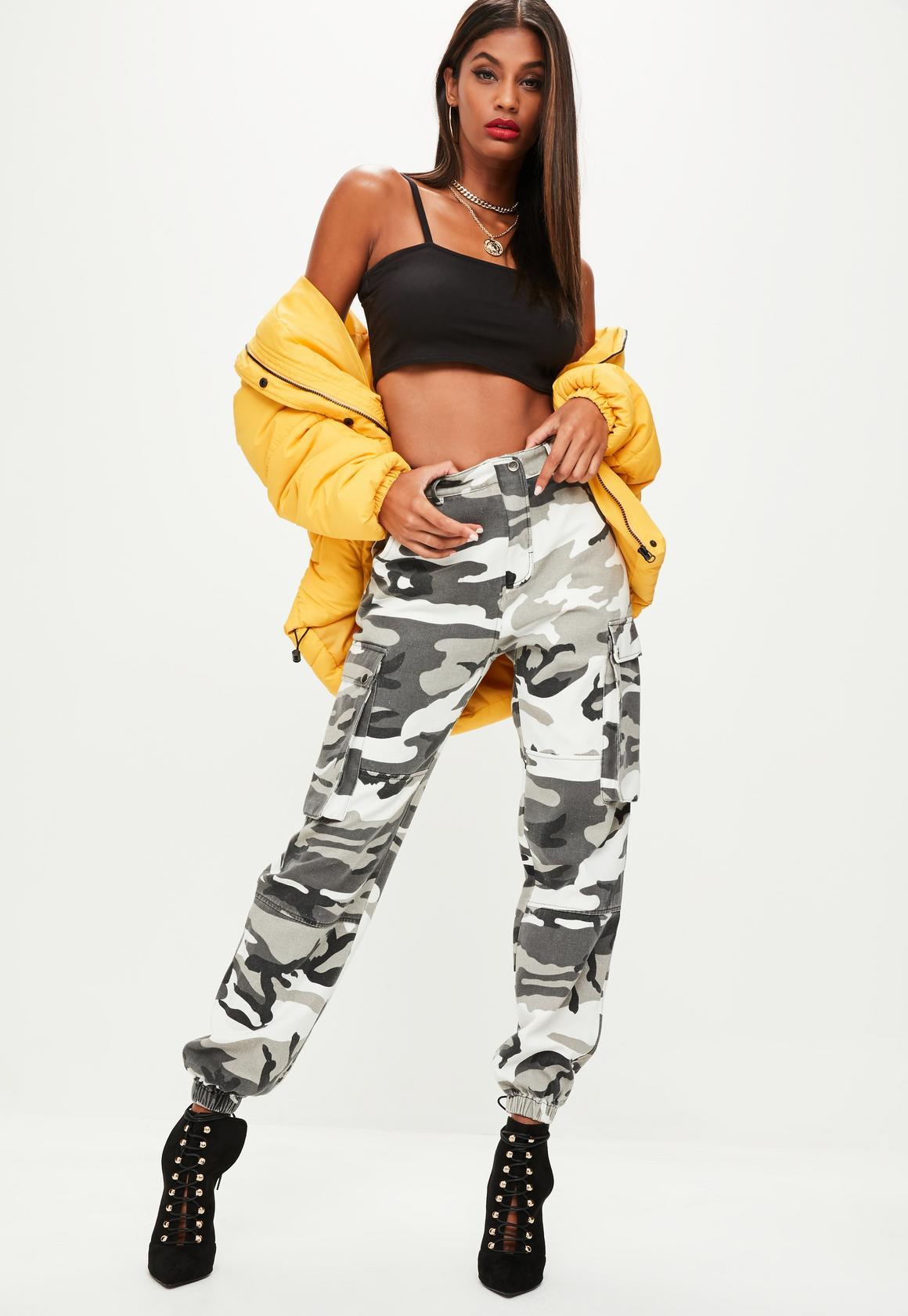 camo pants for women premium gray camo printed cargo pants DZFQTAN