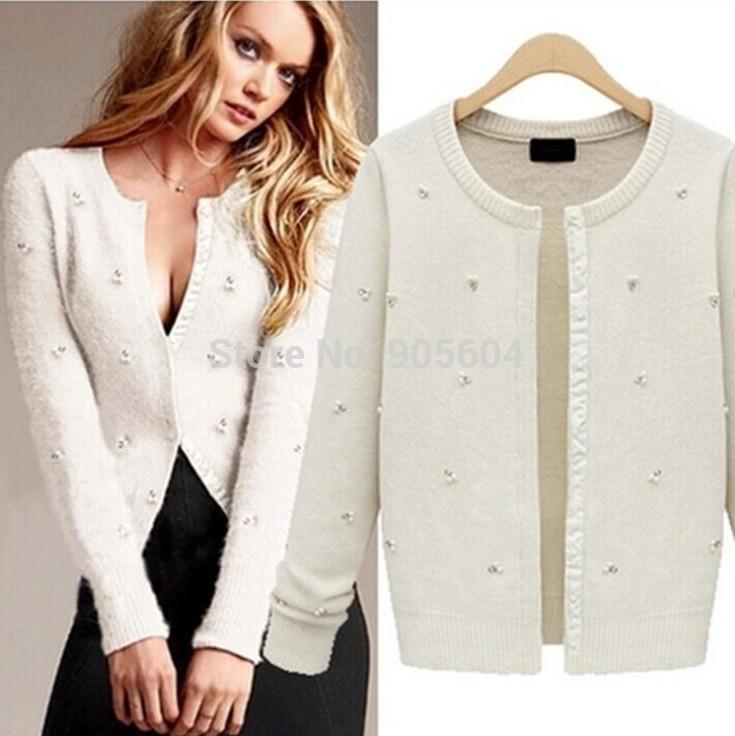 Cardigans for women 2018 2014 new women tiny clear crystal pearl angora cardigan single  breasted knitwear long LGHGWIS