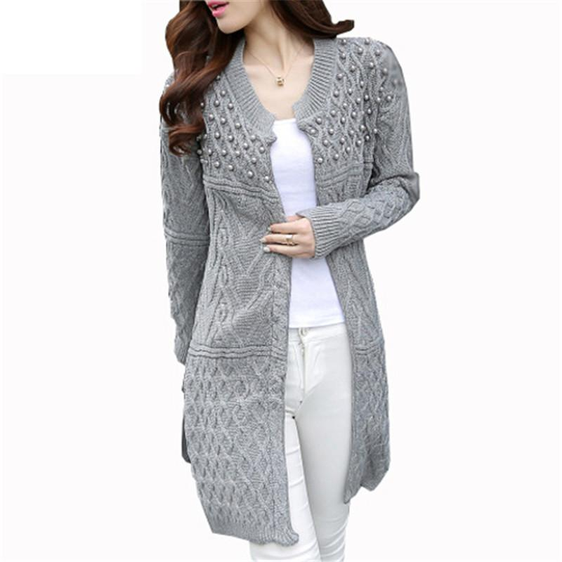 Cardigans for women 2018 wholesale bead pearl women long cardigan 2017 autumn winter knitted  sweaters coats warm IIQZWVB