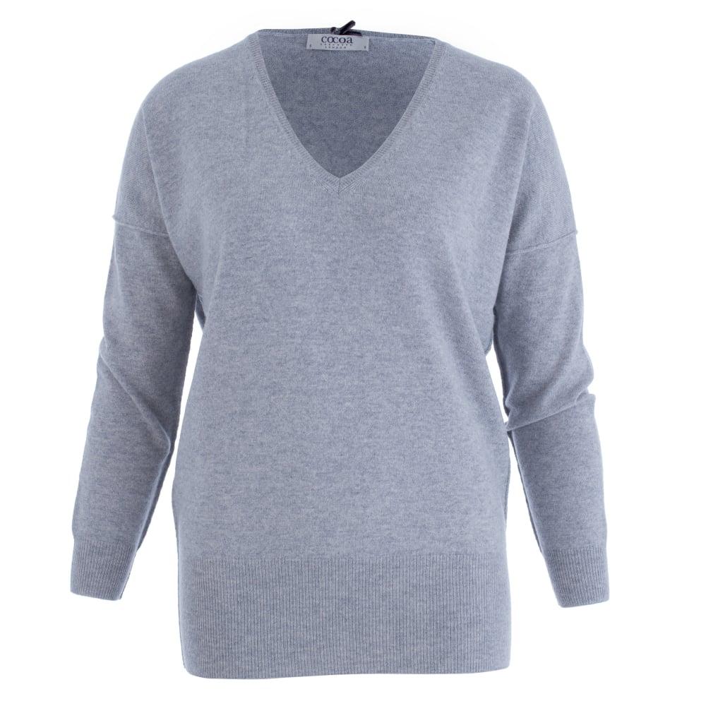 Cashmere Jumper deep v neck cashmere jumper in light grey VFBVSCN