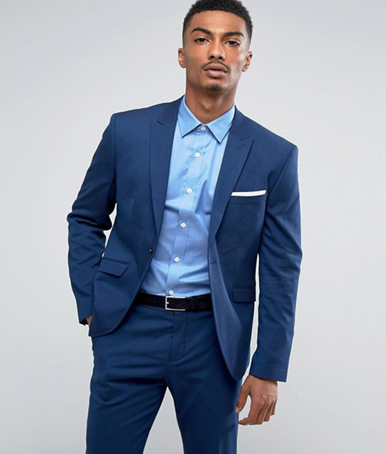 Casual suits 2018 smart casual suits custom made man suit slim suit jacket blue groom  tuxedos JIEFCDQ