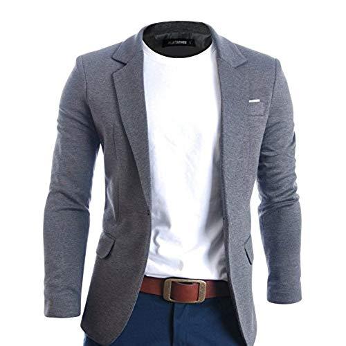 Casual suits flatseven mens slim fit casual premium blazer jacket (bj102) grey, m YFUWJNR
