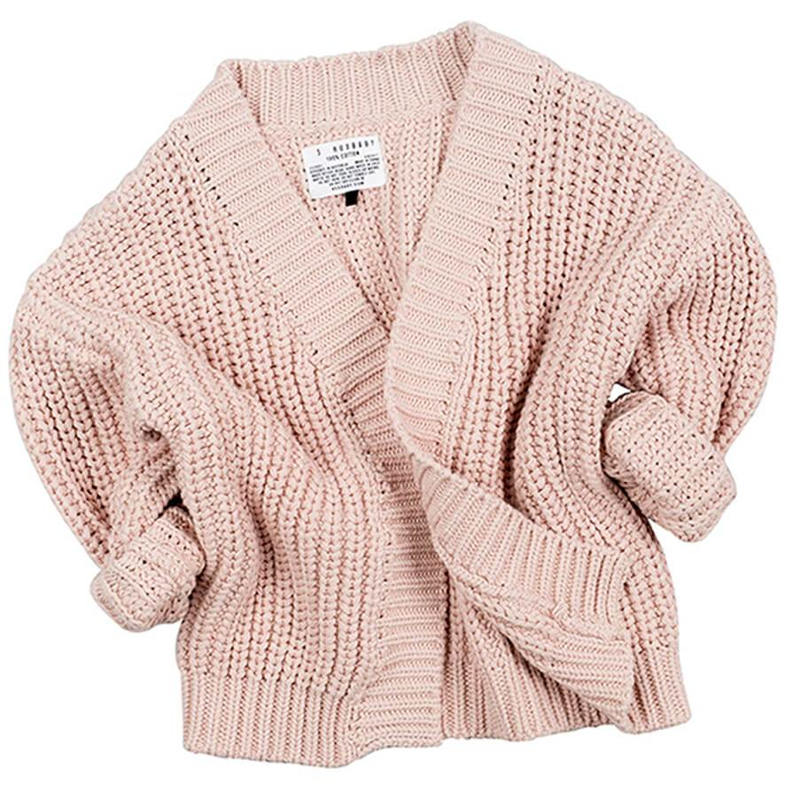chunky knit cardigans chunky knitted cardigan in tearose by huxbaby - junior edition YKGCYWL