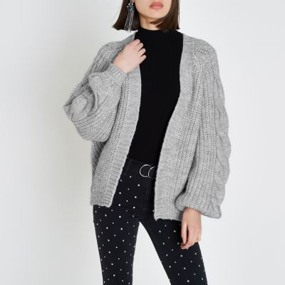 chunky knit cardigans grey chunky cable knit cardigan YFOSJVK