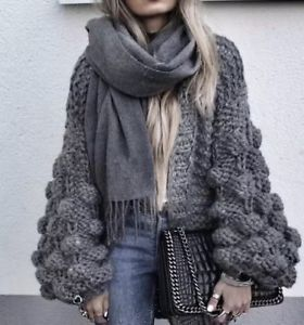 chunky knit cardigans image is loading extreme-chunky-wool-cable-knit-cardigan-lantern-ball- SBDJRZL