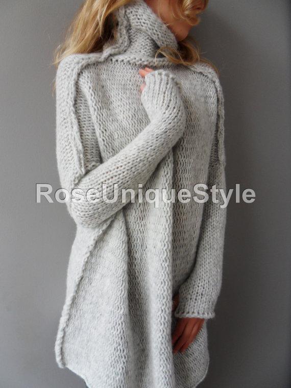 chunky knit cardigans oversized handmade chunky knit alpaca woman sweater tunic AWGHAMO