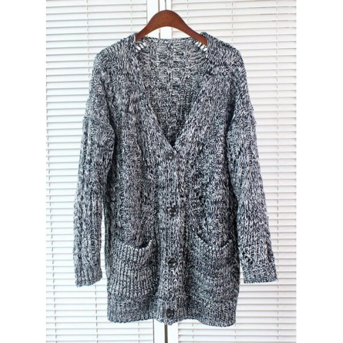 chunky knit cardigans stylish womenu0027s v-neck long sleeve chunky-knit cardigan gray OEKPSNG