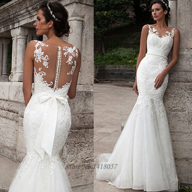 Civil Wedding Dresses arab wedding gowns civil wedding dress mermaid lace bridal dresses 2016  pearls sash vestido ATTJOMZ