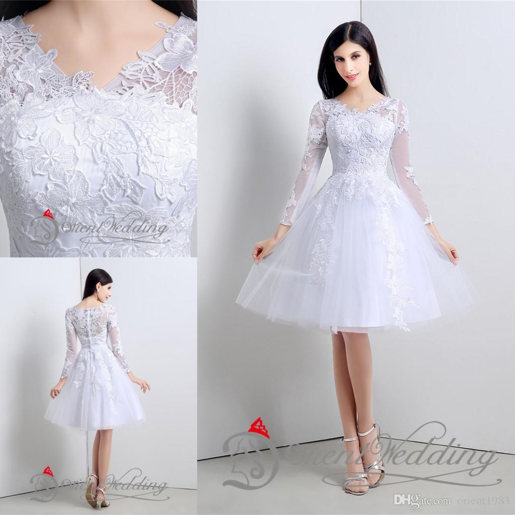 Civil Wedding Dresses discount 2015 little simple white wedding dresses with appliques short  style long sleeve a MJNULUE