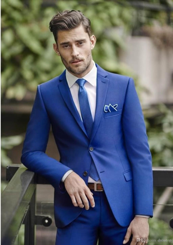 classy blue wedding mens suits slim fit bridegroom tuxedos for men three  pieces groomsmen UZNJDRK
