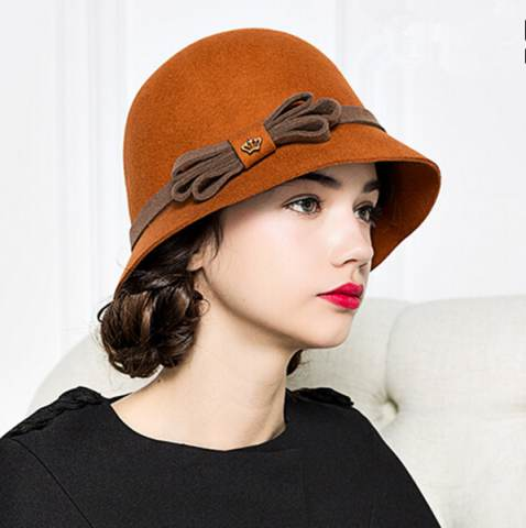 cloche hats elegant bow cloche hat for winter fashion ladies wool felt hats JIWSGGD