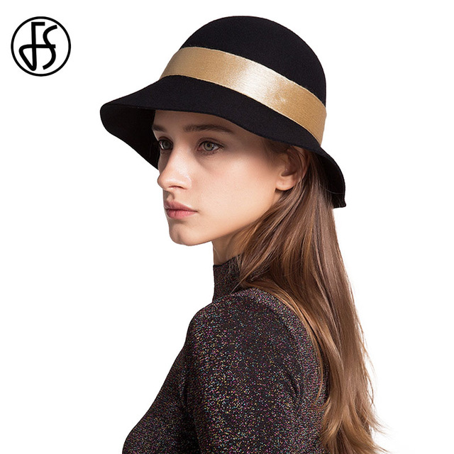 cloche hats fs classic felt cloche hat black winter women australia wool fedoras wide  brim fedora RRURXLV