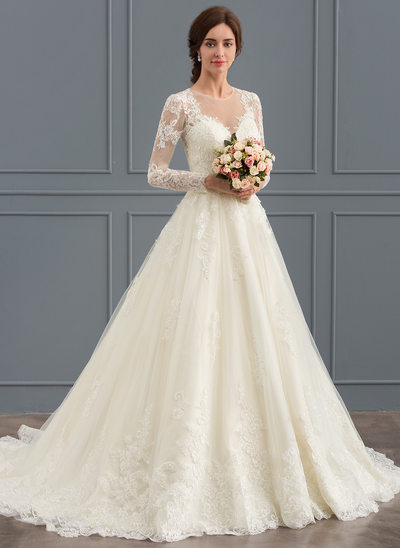 color wedding dresses ball-gown scoop neck court train tulle lace wedding dress HLOCMHF