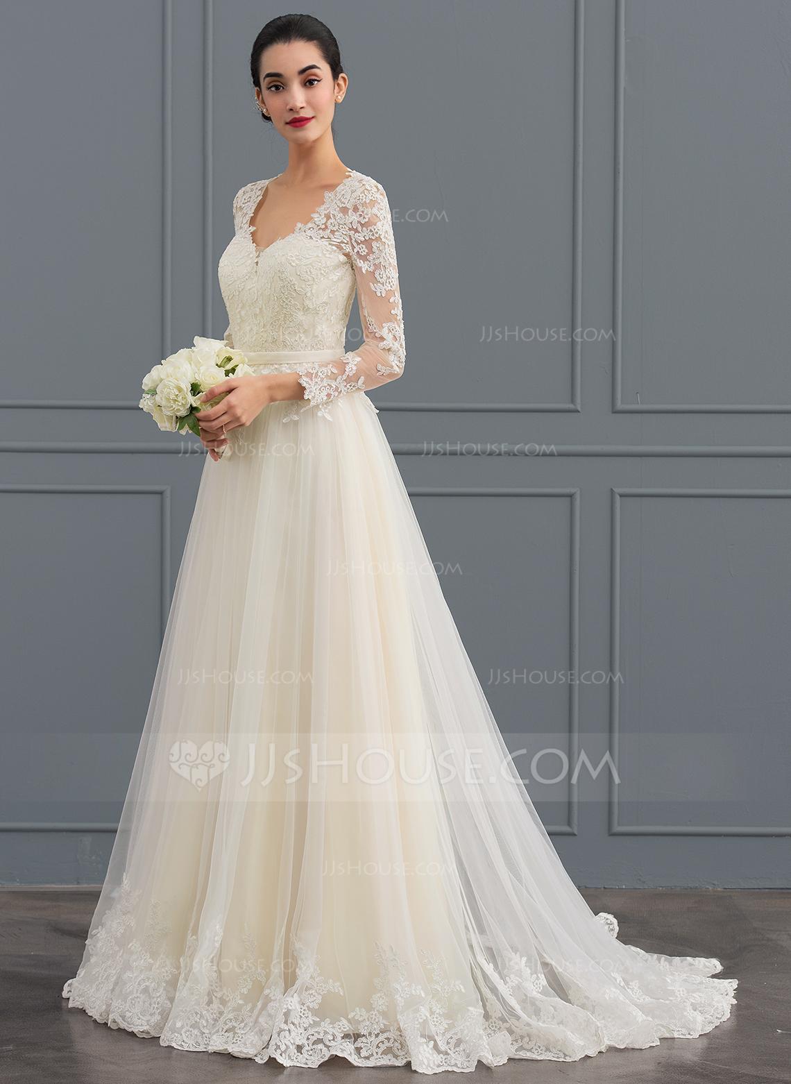 color wedding dresses ball-gown v-neck sweep train tulle wedding dress RKNERFN