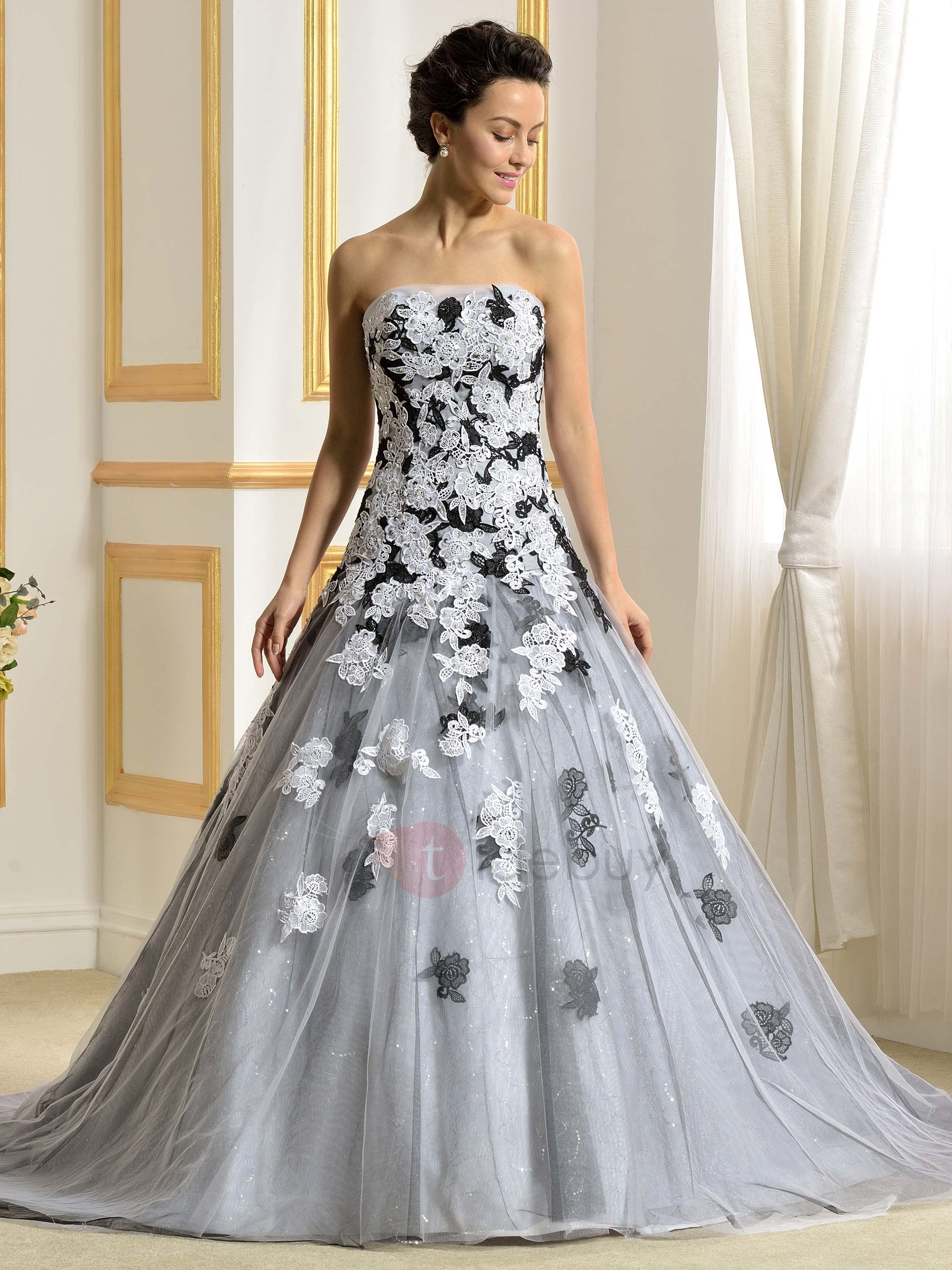 color wedding dresses floor length a-line strapless lace appliques color wedding dress :  tidebuy.com YTFWIGW