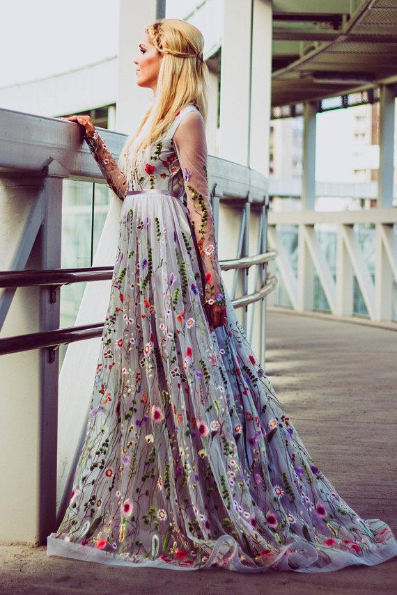 color wedding dresses flower wedding dress in gray color wedding dress with OYDZJVN