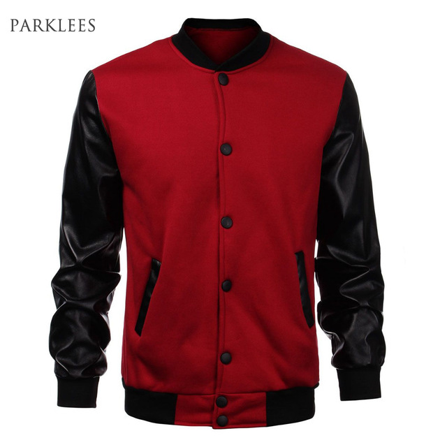 cool jackets cool mens wine red baseball jacket autumn fashion slim black pu leather  sleeve bomber GAXFSGP