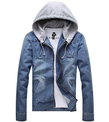 cool jackets fashion cool menu0027s denim jeans hooded zipper long slim fit jacket coat  outwear TTQVJZH