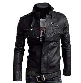 cool jackets punk rock motorcycle biker slim pockets zipper pu leather jacket YWYZMCX