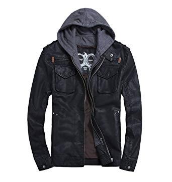 cool jackets voguehive menu0027s cool zip up leather hooded biker jacket rock punk jackets  coat: amazon.co.uk: JMDWTWB