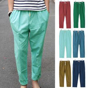 Cool Summer Pants image is loading men-s-linen-cotton-summer-pants-long-slacks- QABODTP