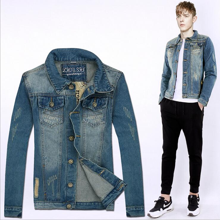denim jackets for men 2016 spring/autumn new menu0027s jeans jacket coats korean slim print hole men  washed denim QDZAWJR