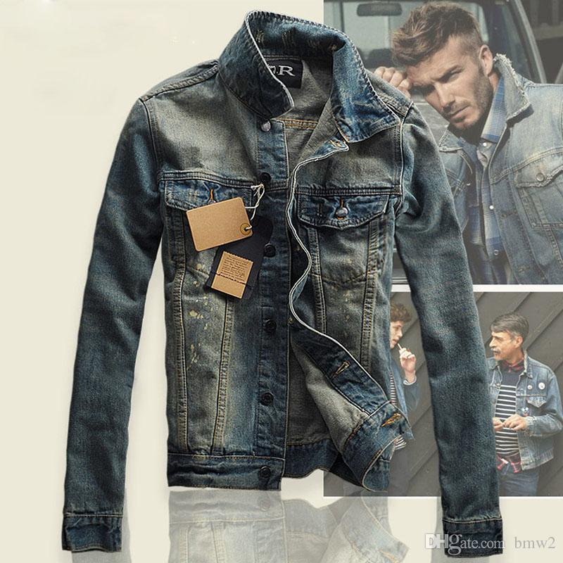 denim jackets for men denim jacket men slim fit vintage mens jacket and coat top quality fashion  casual GOAAUHS