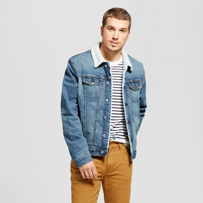 denim jackets for men menu0027s trucker denim jacket with sherpa lining - goodfellow u0026 co™ rinse wash XSMVIGZ