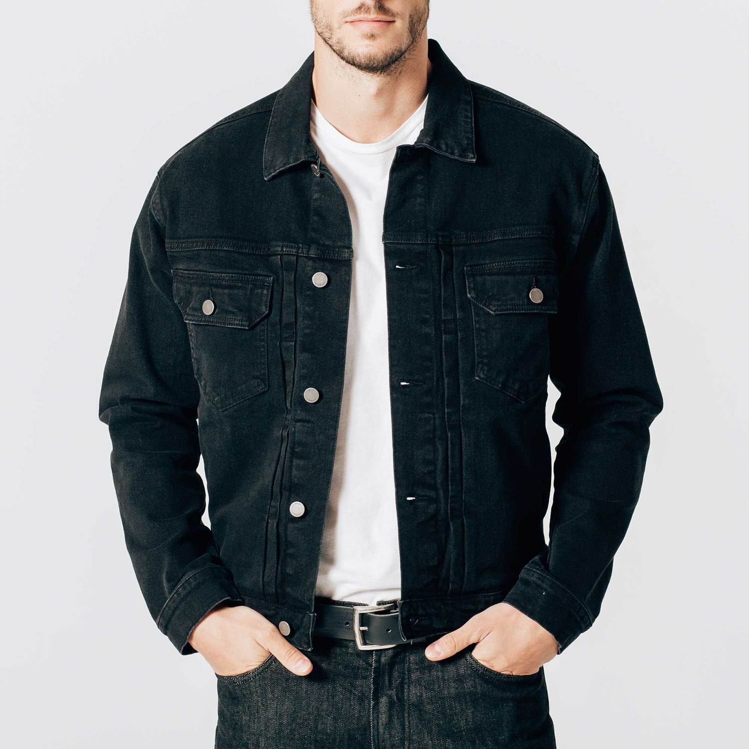 denim jackets for men mens denim jacket in worn black LQSEFAC