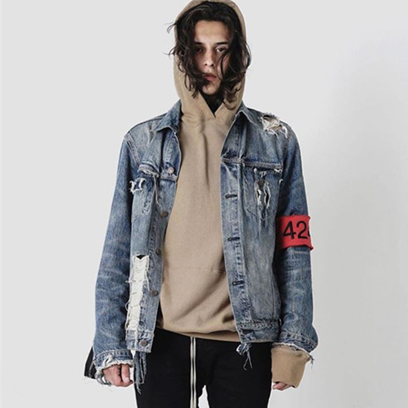 denim jackets for men parkside wind 424 broken holes denim jacket male hip hop ripped oversized mens  denim VEWDNCT