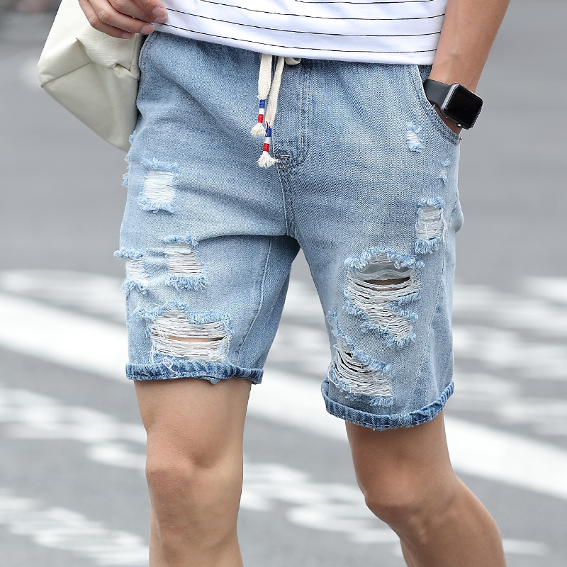 denim shorts for men mens denim shorts slim large size casual knee length short hole jeans shorts  for GJVZZHP