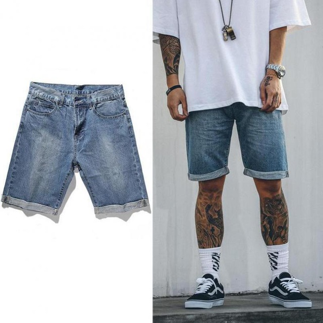 denim shorts for men punkool shorts men 2017 hi-street summer folded hem denim shorts men zipper  fly blue ISMRVZY