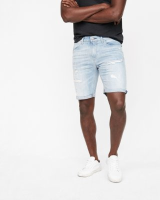 denim shorts for men slim 9 inch destroyed denim shorts | express WDYUPNF