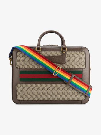 designer laptop bags gucci leather rainbow strap gg briefcase ... ZMSWEUV
