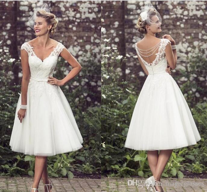 discount 2017 elegant tea length wedding dresses v neck cap sleeves  appliques lace tulle KHTOZCS