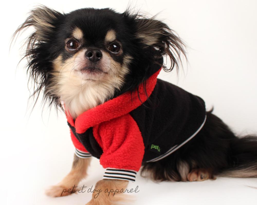 dog clothes raglan sleeved red and black dog hoodie VKSYLMP