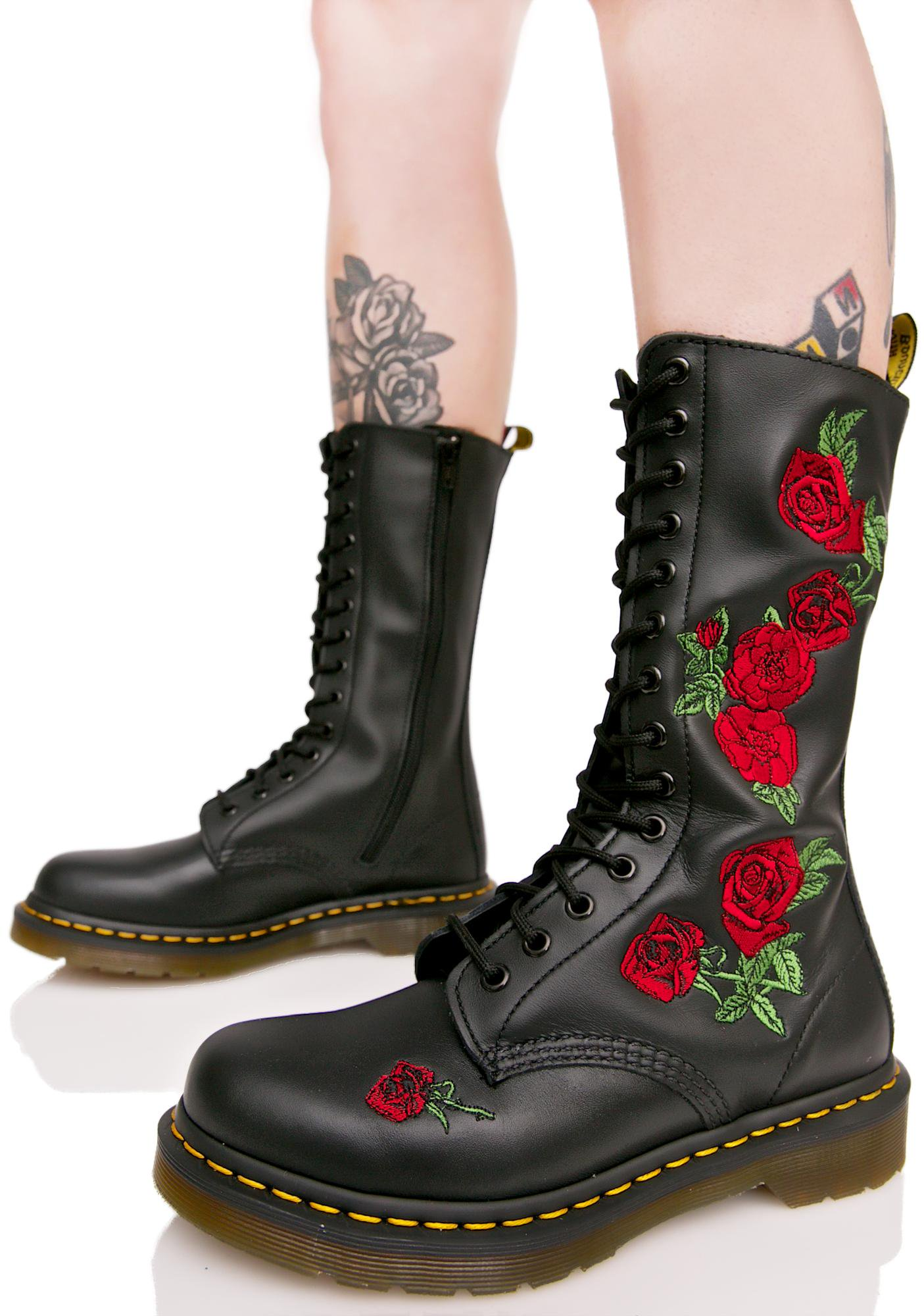 Dr Martens Boots dr. martens vonda embroidered 14 eye boots HXULGNG