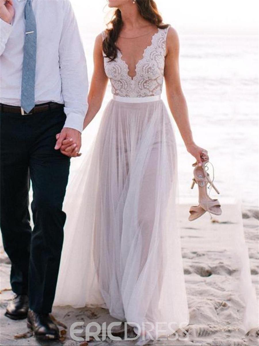 ericdress beautiful illusion neckline lace a line beach wedding dress ... AONWCUN