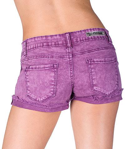 essentials womens acid wash shorts purple HWNDKCQ