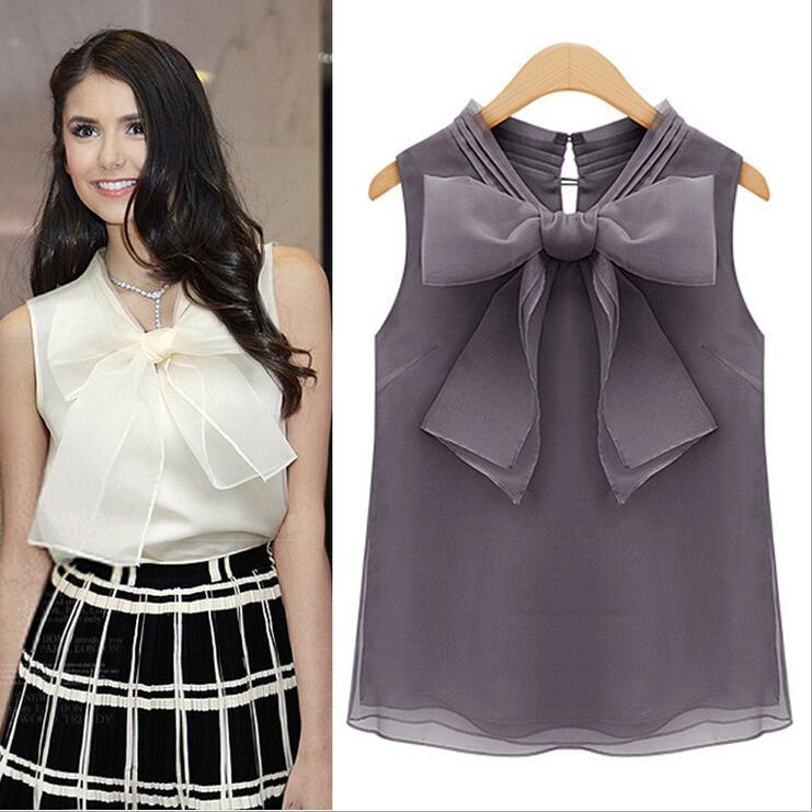 europe station nice summer new ladies tops blouses big bow organza  sleeveless shirt casual XDCNQPB
