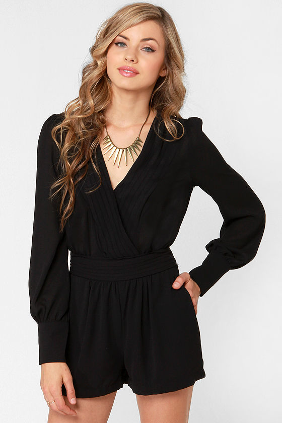 The sexy and chic black long sleeve romper