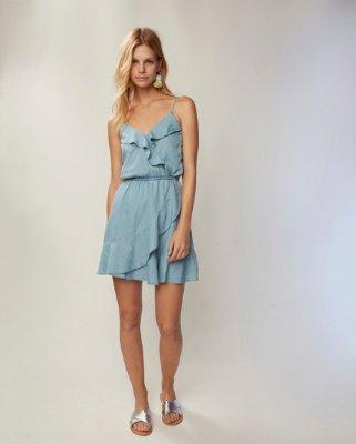 Express dresses denim ruffle front dress | express BNSTLOF