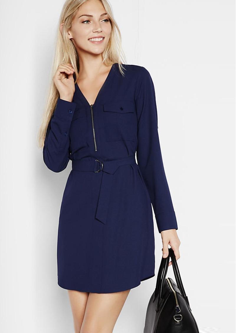 Express dresses express long sleeve zip front shirt dress VJXVPZV