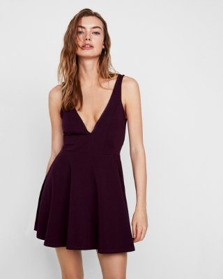Express dresses express view · deep v-wire fit and flare skort dress VDENUNR