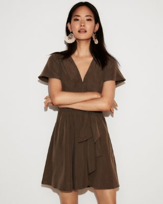 Express dresses express view · tie front flutter sleeve fit and flare dress AIUZJDD